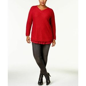 Style & Co Red Lace-Trimmed Tunic Knit Sweater